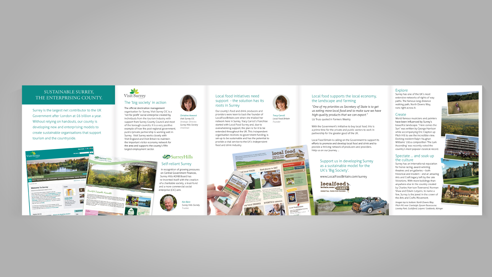 Graphic Designers of Visit Surrey leaflet