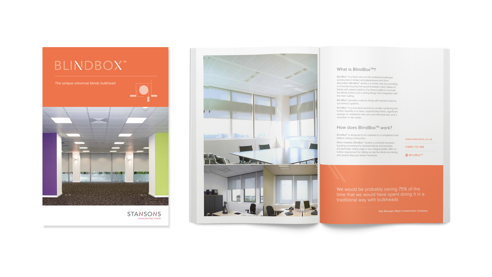 Corporate brochure design for Stansons window shading company