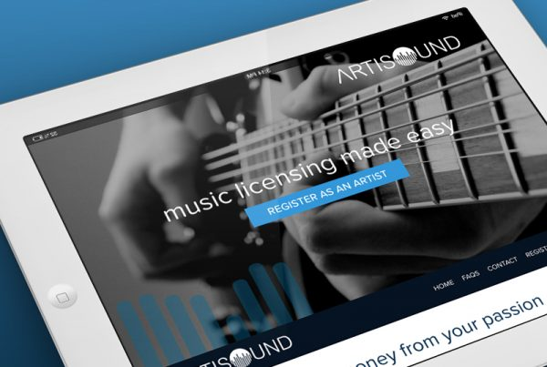 Artisound on an iPad, royalty free music site designed and built Knibbs Surrey