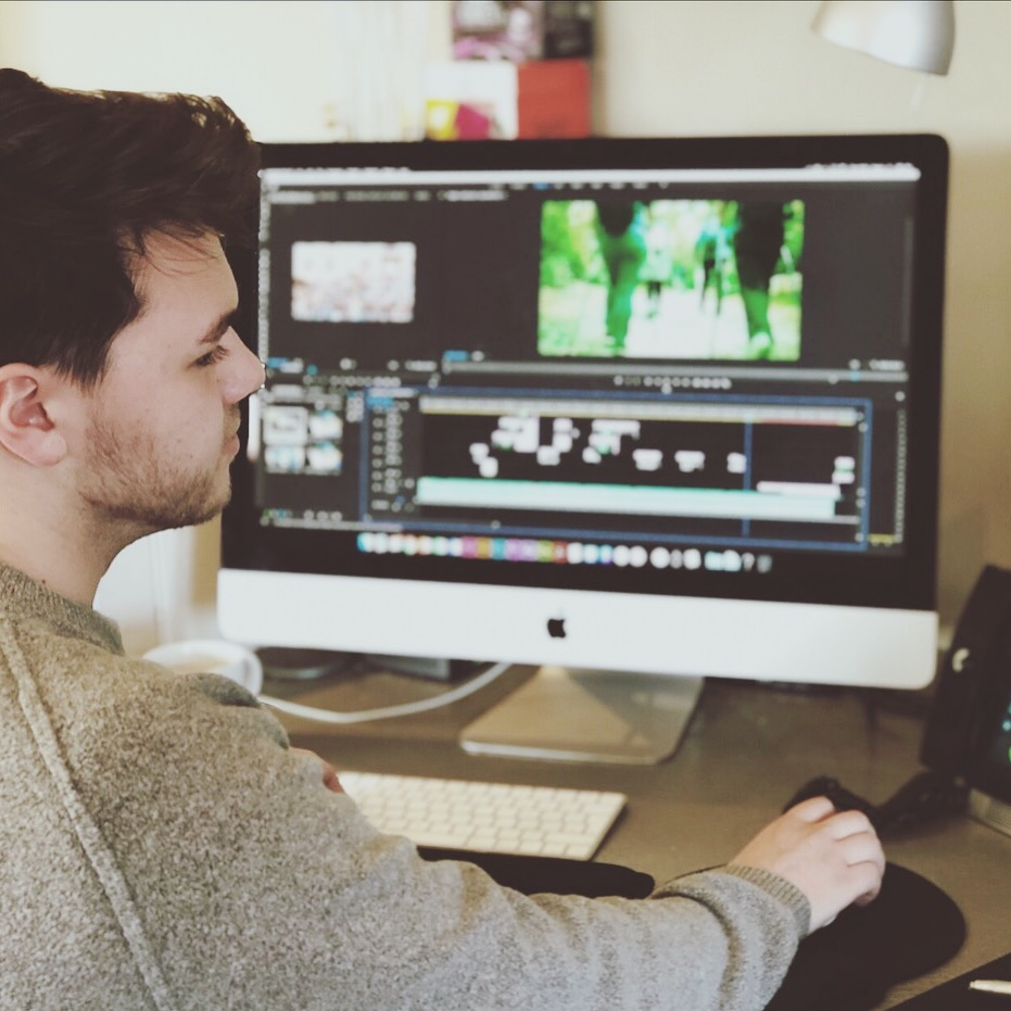 Jake on his design placement at his iMac
